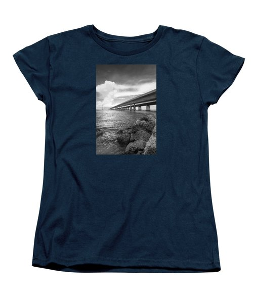 Florida Keys Seven Mile Bridge South Bw Vertical Women's T-Shirt (Standard Cut) by Photographic Arts And Design Studio