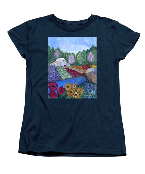 Women's T-Shirt (Standard Cut) featuring the painting Flower Farm -poppies Daisies Lavender Whimsical Painting by Ella Kaye Dickey