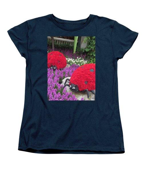 Women's T-Shirt (Standard Cut) featuring the photograph Flower Garden Ladybug Purple White I by Navin Joshi