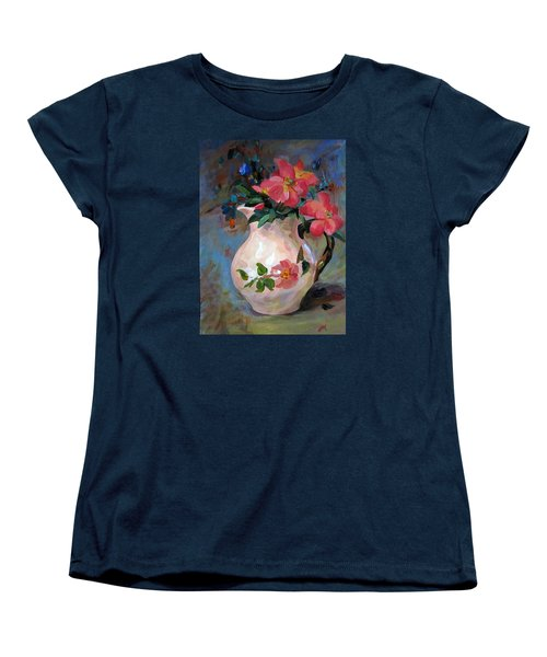 Women's T-Shirt (Standard Cut) featuring the painting Flower In Vase by Jieming Wang