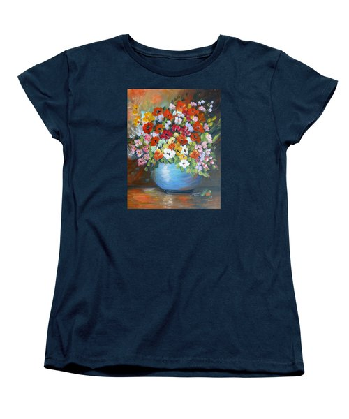 Women's T-Shirt (Standard Cut) featuring the painting Flowers For A Friend by Dorothy Maier