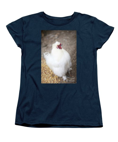 Women's T-Shirt (Standard Cut) featuring the photograph Fluffy White Hen by Erika Weber