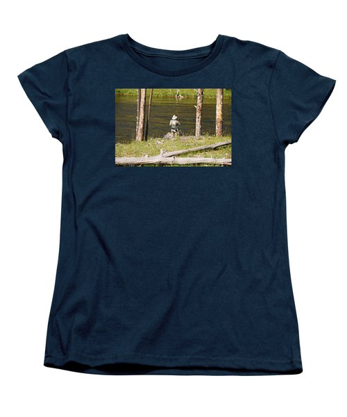 Women's T-Shirt (Standard Cut) featuring the photograph Fly Fishing by Mary Carol Story