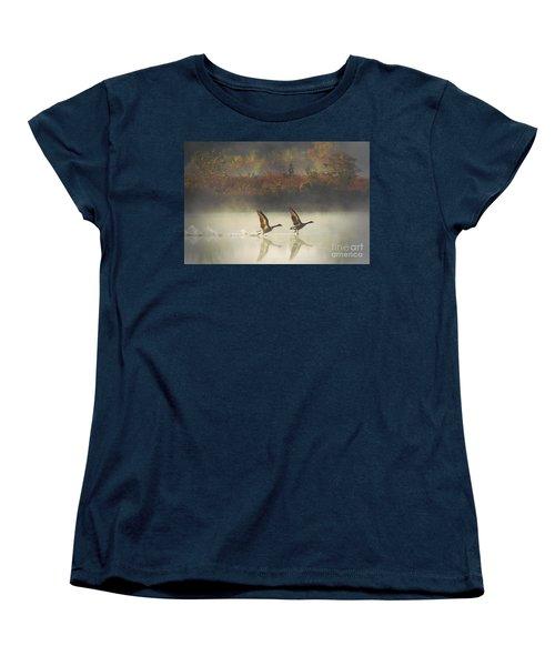 Foggy Autumn Morning Women's T-Shirt (Standard Cut) by Elizabeth Winter