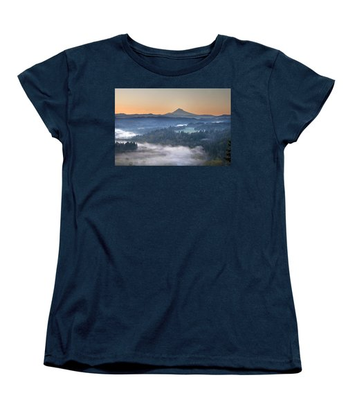 Women's T-Shirt (Standard Cut) featuring the photograph Foggy Sunrise Over Sandy River And Mount Hood by JPLDesigns