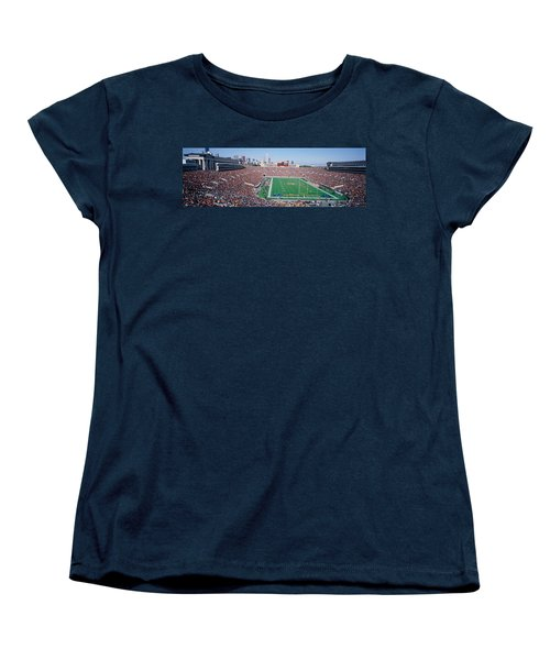 Football, Soldier Field, Chicago Women's T-Shirt (Standard Cut) by Panoramic Images