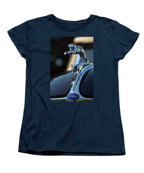 Women's T-Shirt (Standard Cut) featuring the photograph Ford V-8 Hood Ornemant by Dean Ferreira