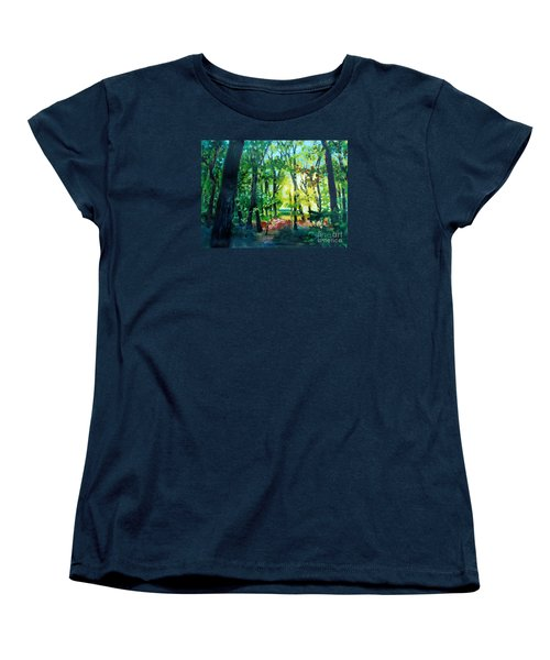 Women's T-Shirt (Standard Cut) featuring the painting Forest Scene 1 by Kathy Braud