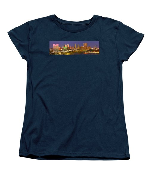 Women's T-Shirt (Standard Cut) featuring the photograph Fort Worth Skyline At Night Color Evening Panorama Ft. Worth Texas by Jon Holiday