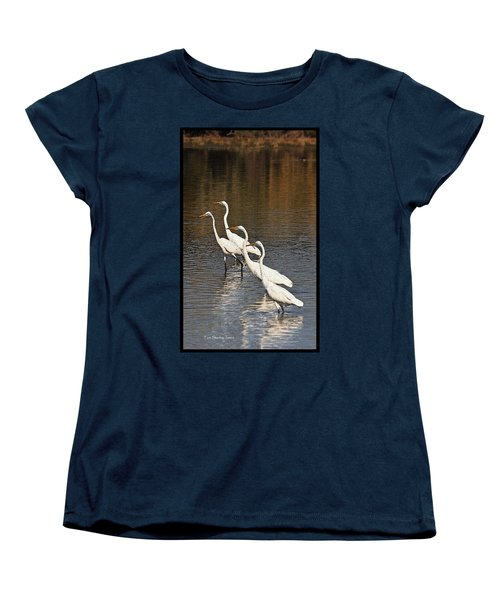 Women's T-Shirt (Standard Cut) featuring the photograph Four Egrets Fishing by Tom Janca