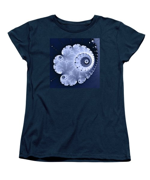 Fractal Spiral Light And Dark Blue Colors Women's T-Shirt (Standard Cut) by Matthias Hauser