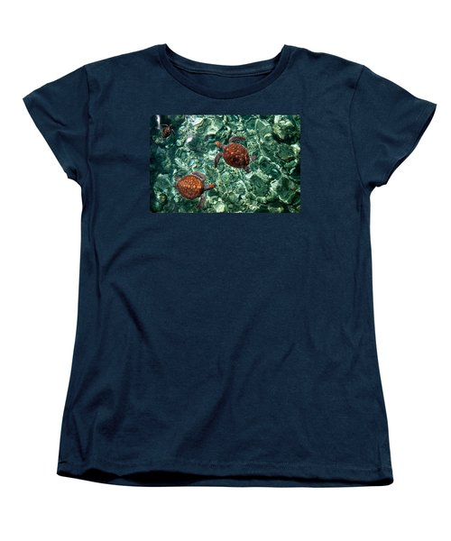 Fragile Underwater World. Sea Turtles In A Crystal Water. Maldives Women's T-Shirt (Standard Cut) by Jenny Rainbow