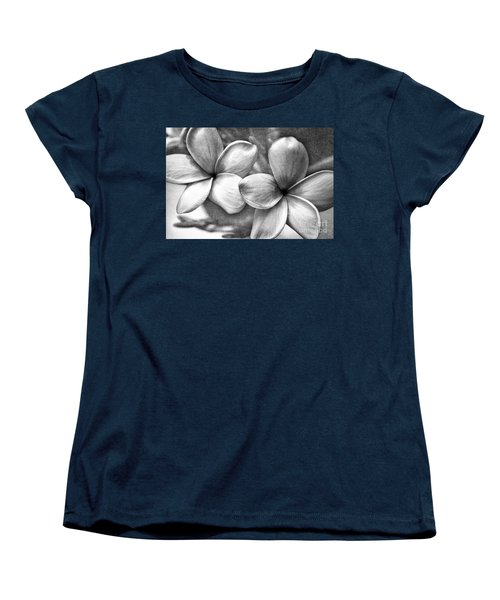 Frangipani In Black And White Women's T-Shirt (Standard Cut) by Peggy Hughes