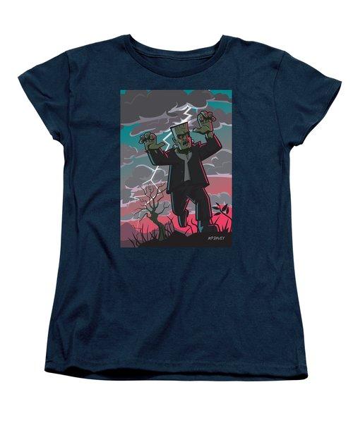 Frankenstein Creature In Storm  Women's T-Shirt (Standard Cut) by Martin Davey