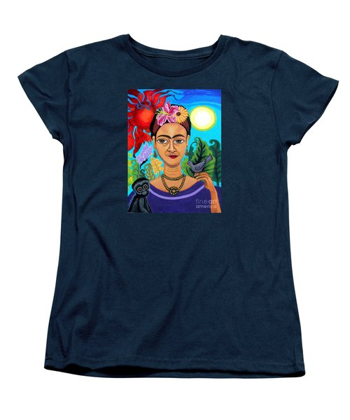 Frida Kahlo With Monkey And Bird Women's T-Shirt (Standard Cut) by Genevieve Esson