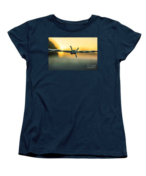 Frost On Barbed Wire At Sunrise Women's T-Shirt (Standard Cut) by Michael Cross