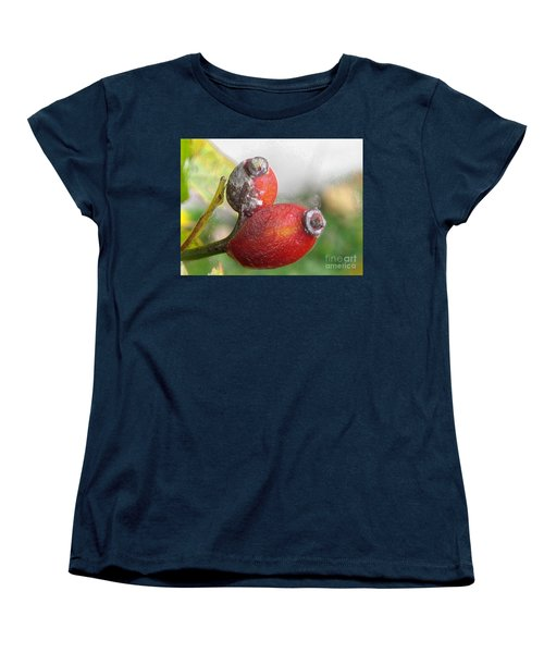 Women's T-Shirt (Standard Cut) featuring the photograph Frosted Rosehips by Nina Silver
