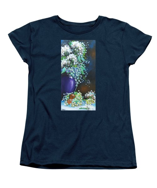 Women's T-Shirt (Standard Cut) featuring the painting Fruit And Flowers Still Life by Patrice Torrillo