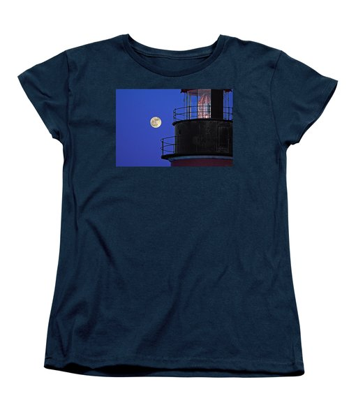 Women's T-Shirt (Standard Cut) featuring the photograph Full Moon And West Quoddy Head Lighthouse Beacon by Marty Saccone