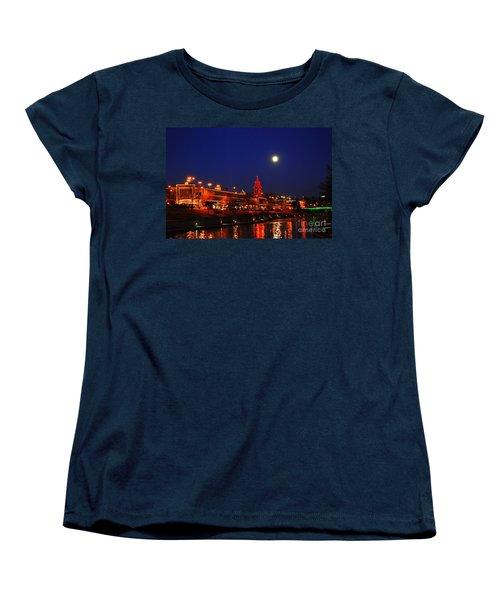 Full Moon Over Plaza Lights In Kansas City Women's T-Shirt (Standard Cut) by Catherine Sherman