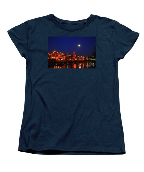 Full Moon Over Plaza Lights In Kansas City Women's T-Shirt (Standard Cut)