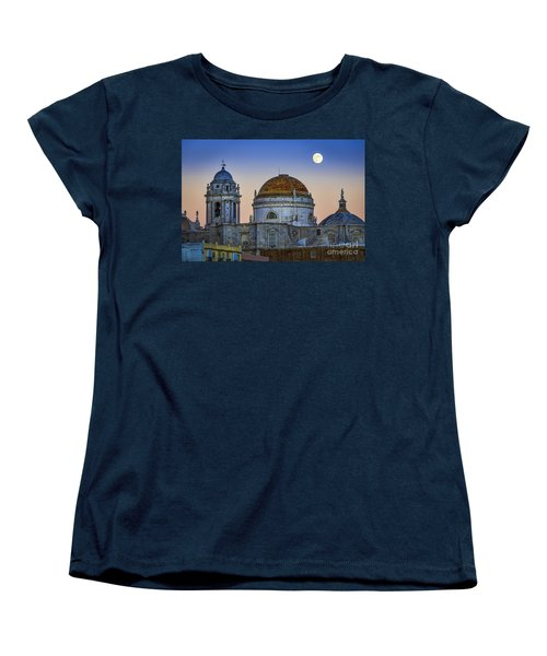 Full Moon Rising Over The Cathedral Cadiz Spain Women's T-Shirt (Standard Cut) by Pablo Avanzini
