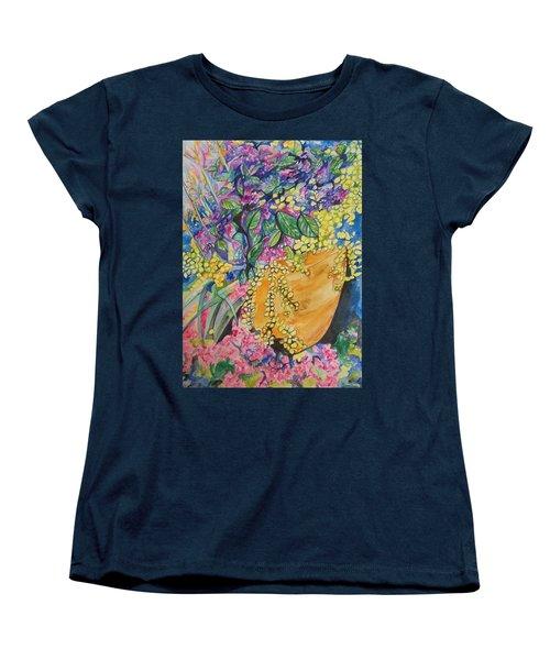 Women's T-Shirt (Standard Cut) featuring the painting Garden Flowers In A Pot by Esther Newman-Cohen