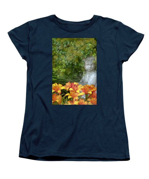 Women's T-Shirt (Standard Cut) featuring the photograph Garden Girl And Orange Lilies Digital Watercolor by Sandra Foster