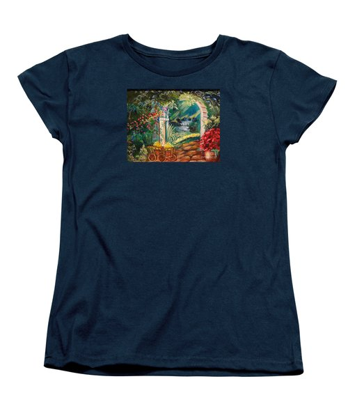 Women's T-Shirt (Standard Cut) featuring the painting Garden Of Serenity Beyond by Jenny Lee
