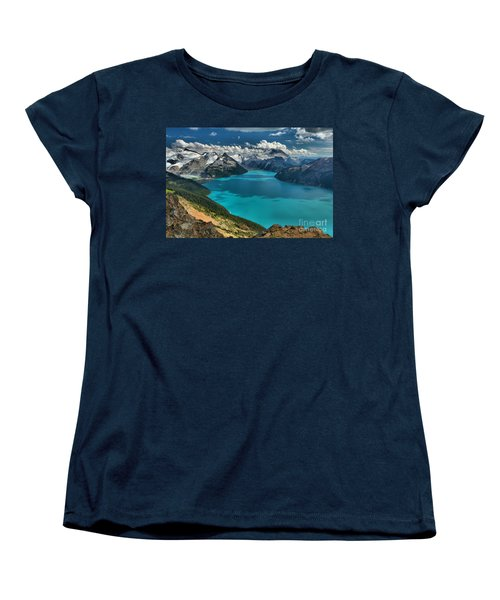 Garibaldi Lake Blues Greens And Mountains Women's T-Shirt (Standard Cut) by Adam Jewell