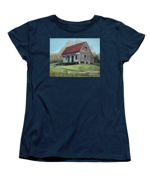Women's T-Shirt (Standard Cut) featuring the painting Gates Chapel - Ellijay Ga - Old Homestead by Jan Dappen
