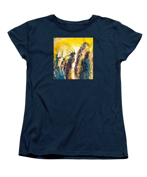 Women's T-Shirt (Standard Cut) featuring the painting Gathering 2 by Kicking Bear  Productions