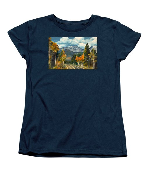 Women's T-Shirt (Standard Cut) featuring the painting Gayle's Highway by Mary Ellen Anderson