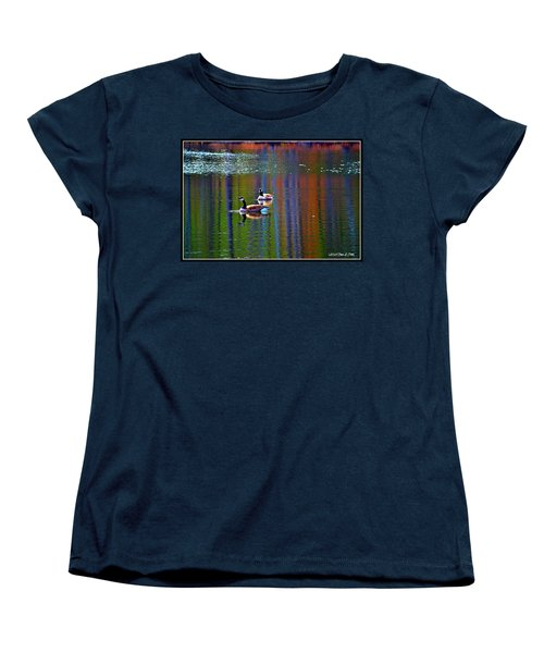 Women's T-Shirt (Standard Cut) featuring the photograph Geese On The Lake by Tara Potts