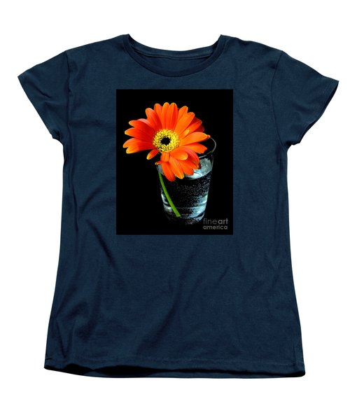 Gerbera Daisy In Glass Of Water Women's T-Shirt (Standard Cut) by Nina Ficur Feenan