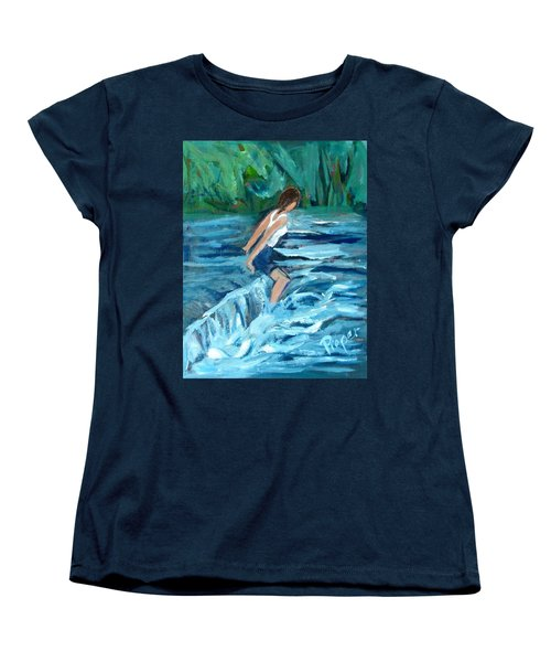 Women's T-Shirt (Standard Cut) featuring the painting Girl Bathing In River Rapids by Betty Pieper