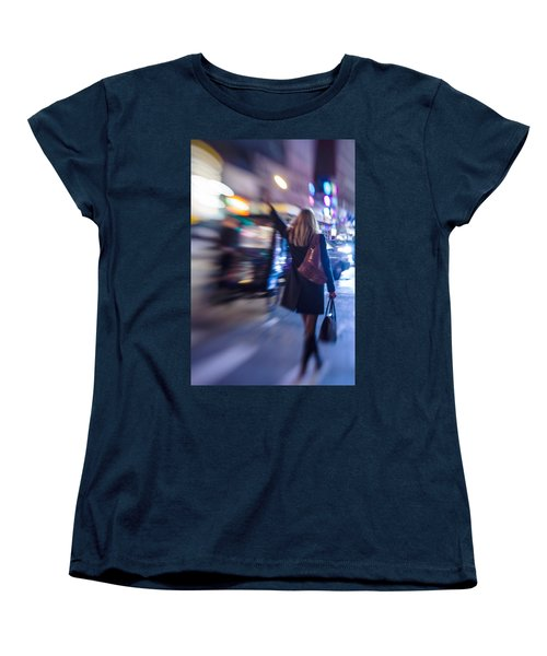 Girl Catching A Taxi In Manhattan Women's T-Shirt (Standard Cut)