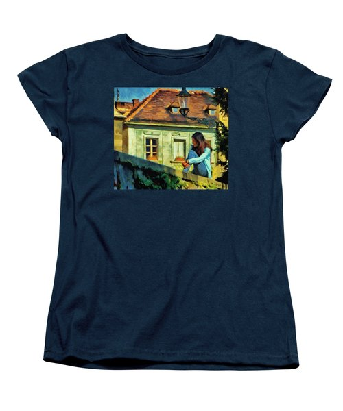 Women's T-Shirt (Standard Cut) featuring the painting Girl Posing On Stone Wall by Jeff Kolker