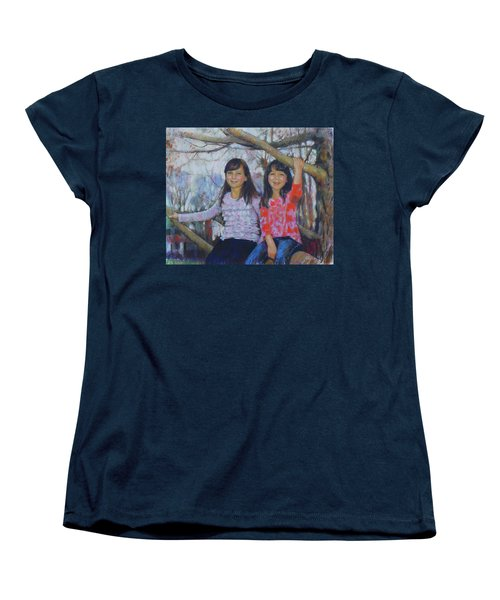 Women's T-Shirt (Standard Cut) featuring the drawing Girls Upon The Tree by Viola El