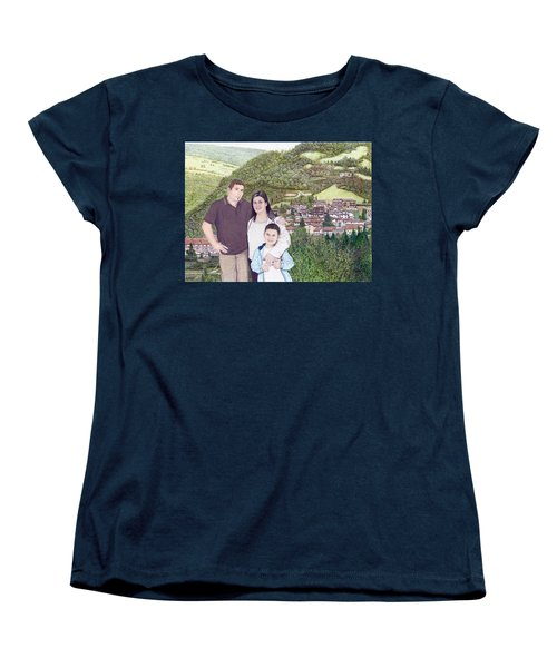 Women's T-Shirt (Standard Cut) featuring the painting Giusy Mirko And Simone In Valle Castellana by Albert Puskaric