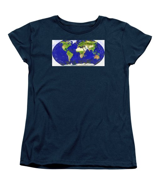 Global Map Painting Women's T-Shirt (Standard Cut) by Georgi Dimitrov