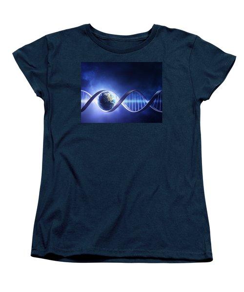 Glowing Earth Dna Strand Women's T-Shirt (Standard Cut) by Johan Swanepoel