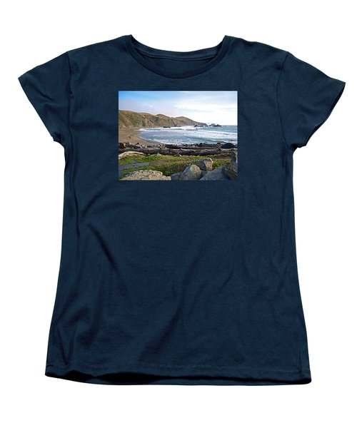 Goat Rock State Beach On The Pacific Ocean Near Outlet Of Russian River-ca  Women's T-Shirt (Standard Cut) by Ruth Hager