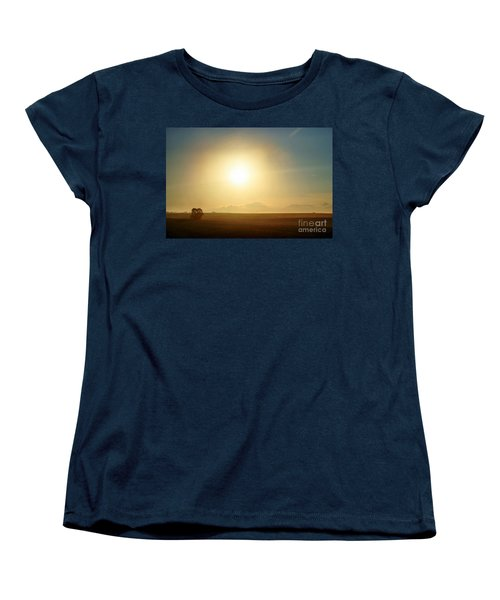 Women's T-Shirt (Standard Cut) featuring the photograph Golden Sunset by Judy Palkimas