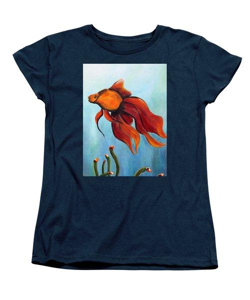 Women's T-Shirt (Standard Cut) featuring the painting Goldfish by Jolanta Anna Karolska