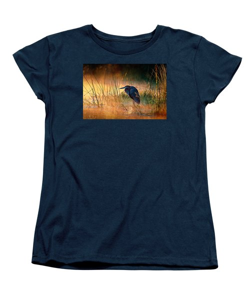 Goliath Heron With Sunrise Over Misty River Women's T-Shirt (Standard Cut) by Johan Swanepoel