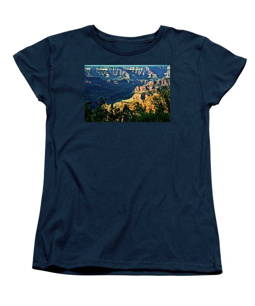 Women's T-Shirt (Standard Cut) featuring the photograph Grand Canyon  Golden Hour On Angel Point by Bob and Nadine Johnston