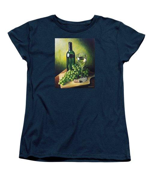 Grapes And Wine Women's T-Shirt (Standard Cut) by Kim Lockman