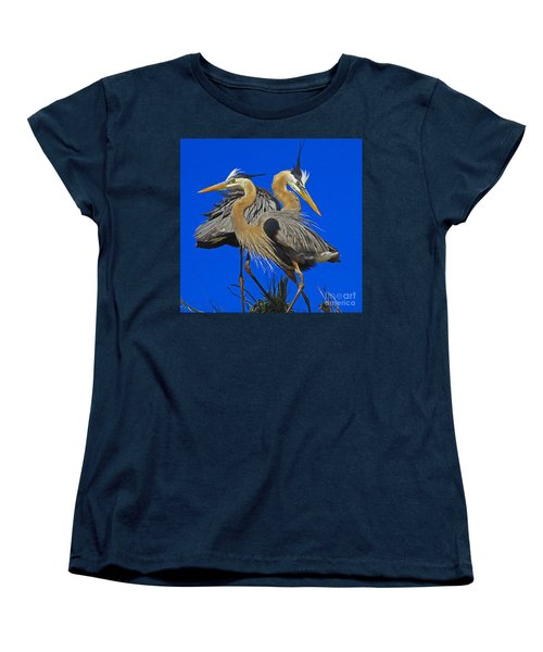 Great Blue Heron Family Women's T-Shirt (Standard Cut) by Larry Nieland