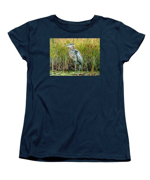 Great Blue Heron Waiting For Supper Women's T-Shirt (Standard Cut) by Eti Reid